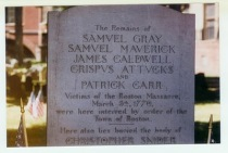 Boston Massacre tombstone at Granary, courtesy of Boston Irish Tourism Association